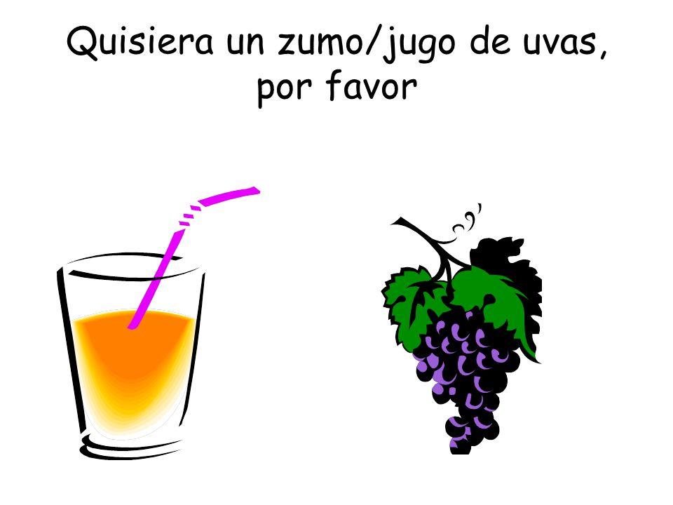 Quisiera un zumo/jugo de uvas, por favor