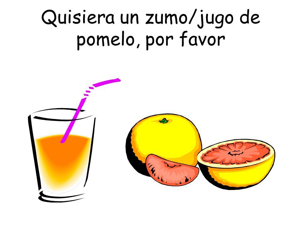 Quisiera un zumo/jugo de pomelo, por favor