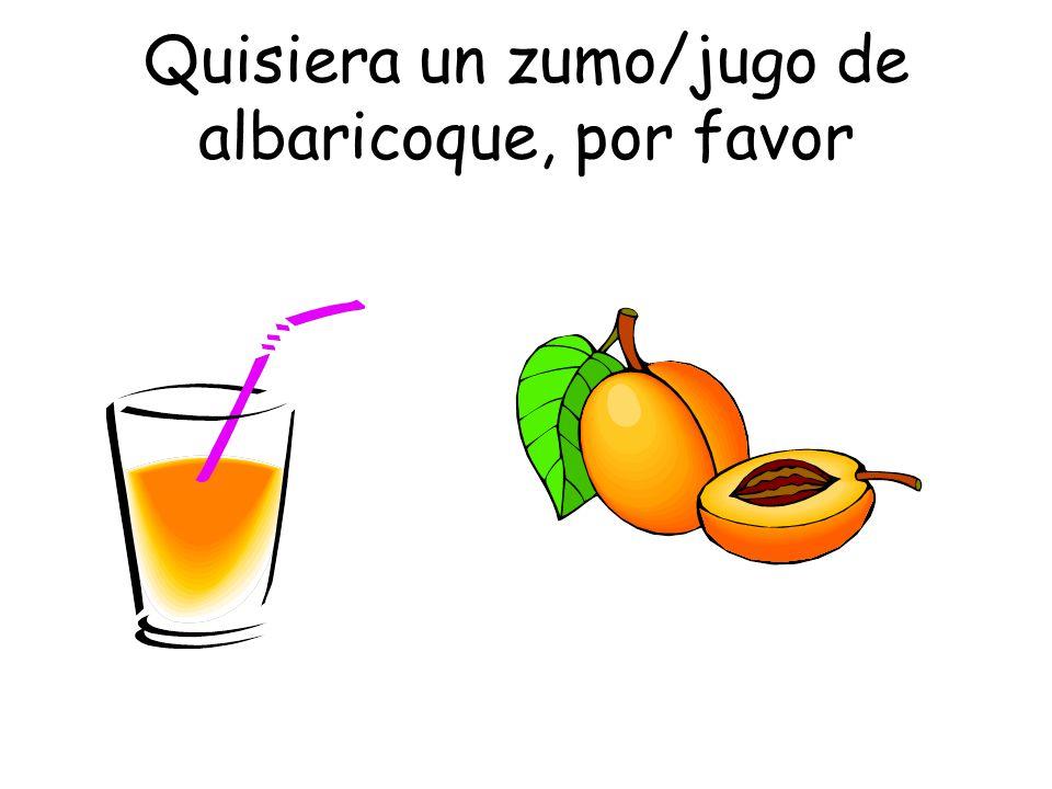 Quisiera un zumo/jugo de albaricoque, por favor