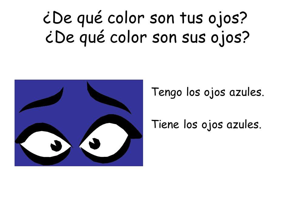 ¿De qué color son tus ojos? ¿De qué color son sus ojos? Tengo los ojos azules. Tiene los ojos azules.
