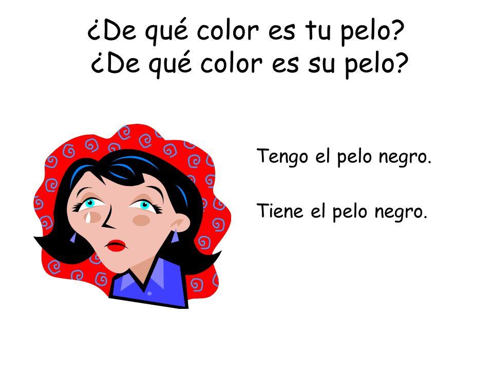 ¿De qué color es tu pelo? ¿De qué color es su pelo? Tengo el pelo negro. Tiene el pelo negro.