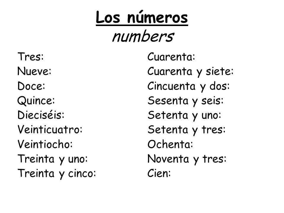 Los números numbers Tres: Nueve: Doce: Quince: Dieciséis: Veinticuatro: Veintiocho: Treinta y uno: Treinta y cinco: Cuarenta: Cuarenta y siete: Cincue