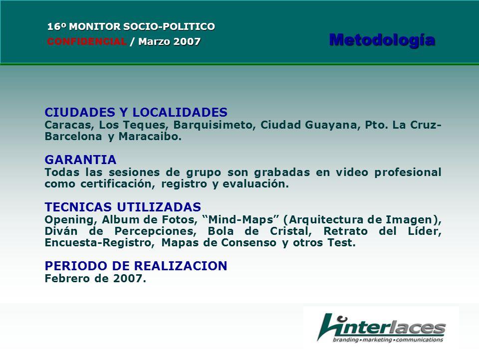 CIUDADES Y LOCALIDADES Caracas, Los Teques, Barquisimeto, Ciudad Guayana, Pto.