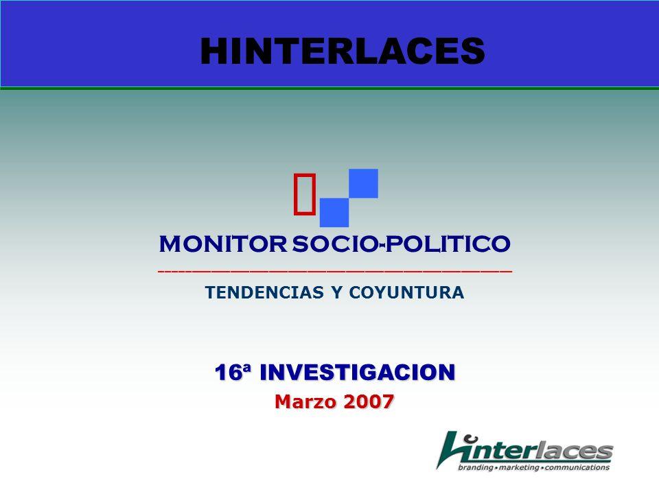 16ª INVESTIGACION Marzo 2007 HINTERLACES MONITOR SOCIO-POLITICO _______________________________________________________ TENDENCIAS Y COYUNTURA