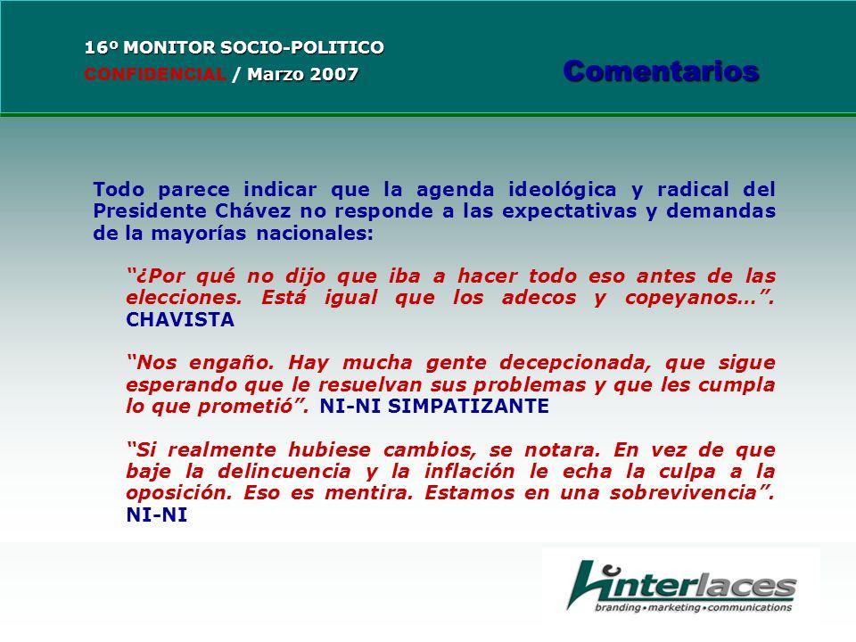 Todo parece indicar que la agenda ideológica y radical del Presidente Chávez no responde a las expectativas y demandas de la mayorías nacionales: ¿Por qué no dijo que iba a hacer todo eso antes de las elecciones.