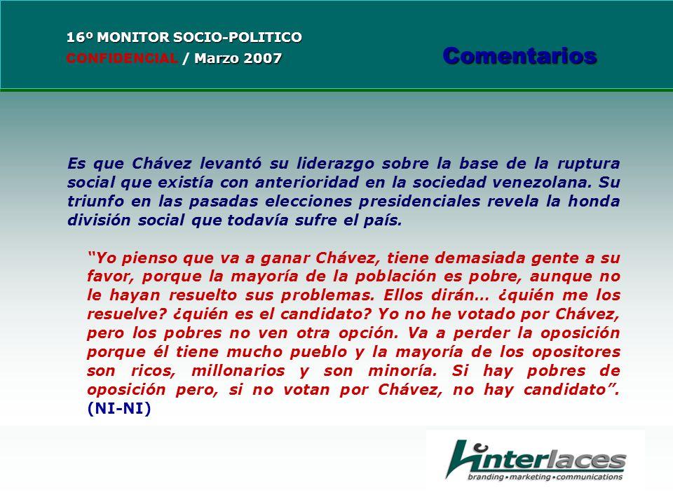 Es que Chávez levantó su liderazgo sobre la base de la ruptura social que existía con anterioridad en la sociedad venezolana.