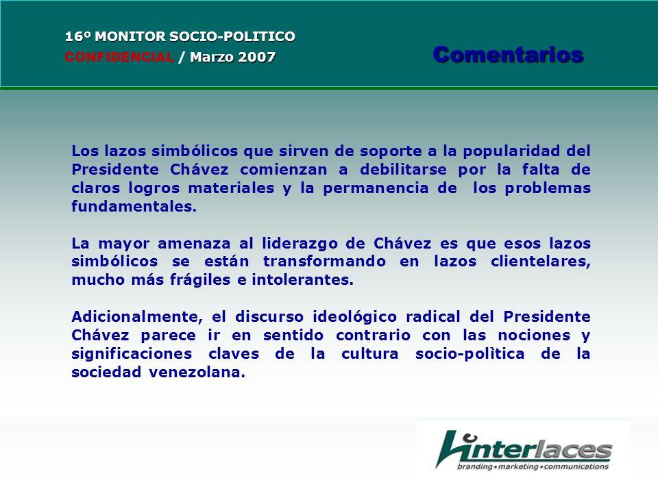 Los lazos simbólicos que sirven de soporte a la popularidad del Presidente Chávez comienzan a debilitarse por la falta de claros logros materiales y la permanencia de los problemas fundamentales.
