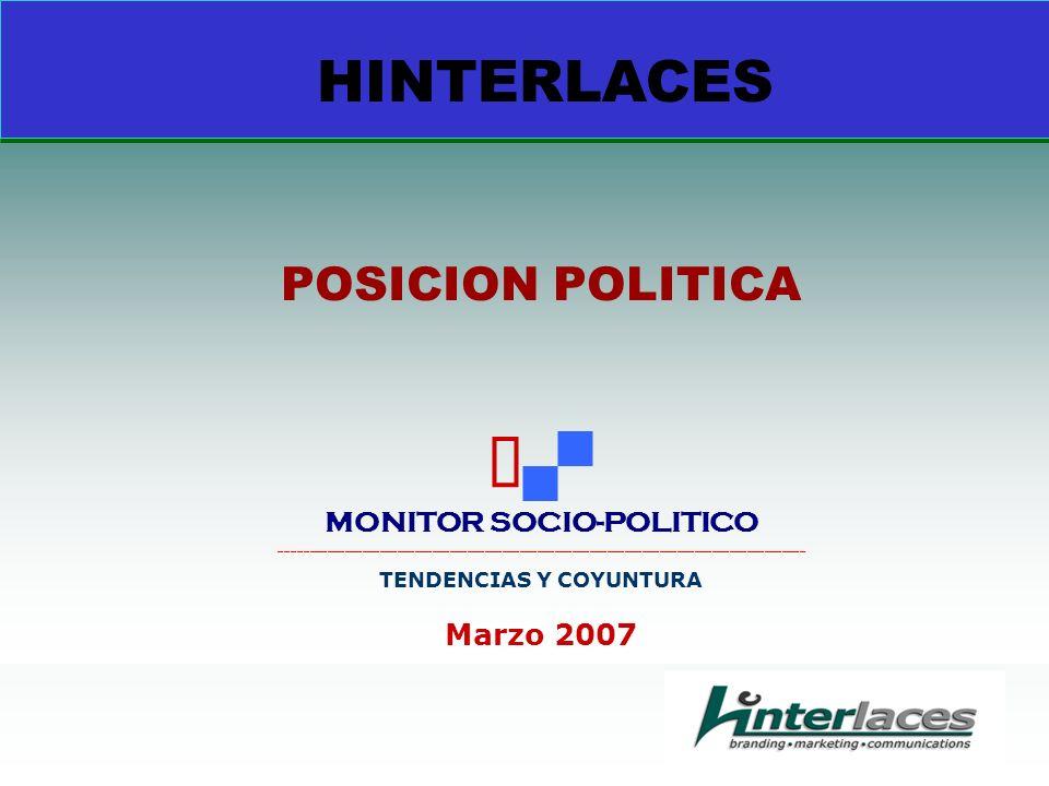 HINTERLACES POSICION POLITICA MONITOR SOCIO-POLITICO __________________________________________________________________________________________ TENDENCIAS Y COYUNTURA Marzo 2007