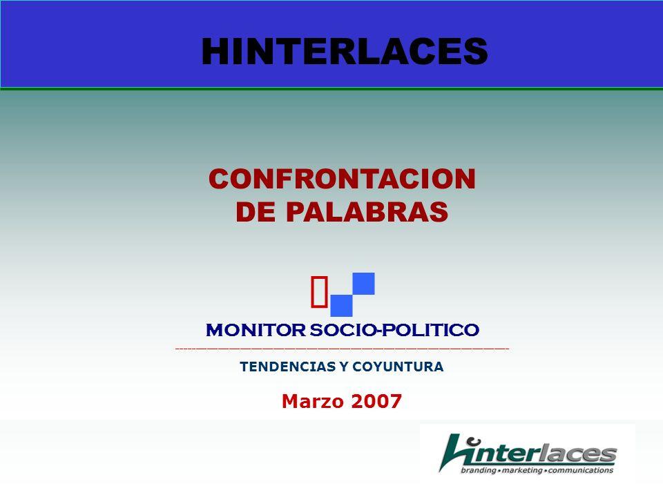 HINTERLACES CONFRONTACION DE PALABRAS MONITOR SOCIO-POLITICO __________________________________________________________________________________________ TENDENCIAS Y COYUNTURA Marzo 2007