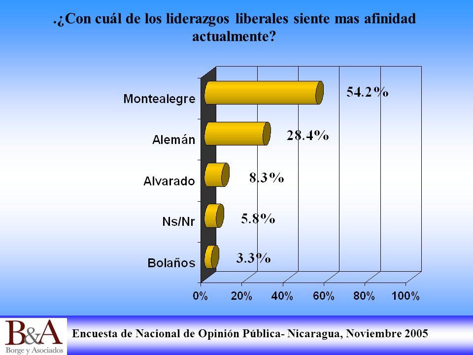 Encuesta de Nacional de Opinión Pública- Nicaragua, Noviembre 2005.¿Con cuál de los liderazgos liberales siente mas afinidad actualmente?
