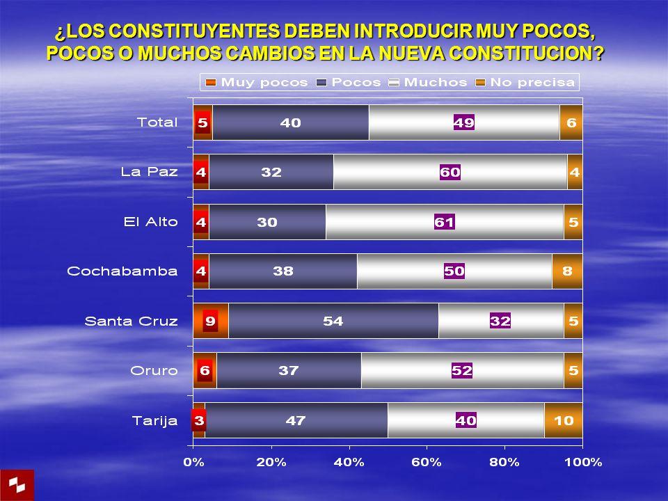 ¿LOS CONSTITUYENTES DEBEN INTRODUCIR MUY POCOS, POCOS O MUCHOS CAMBIOS EN LA NUEVA CONSTITUCION?