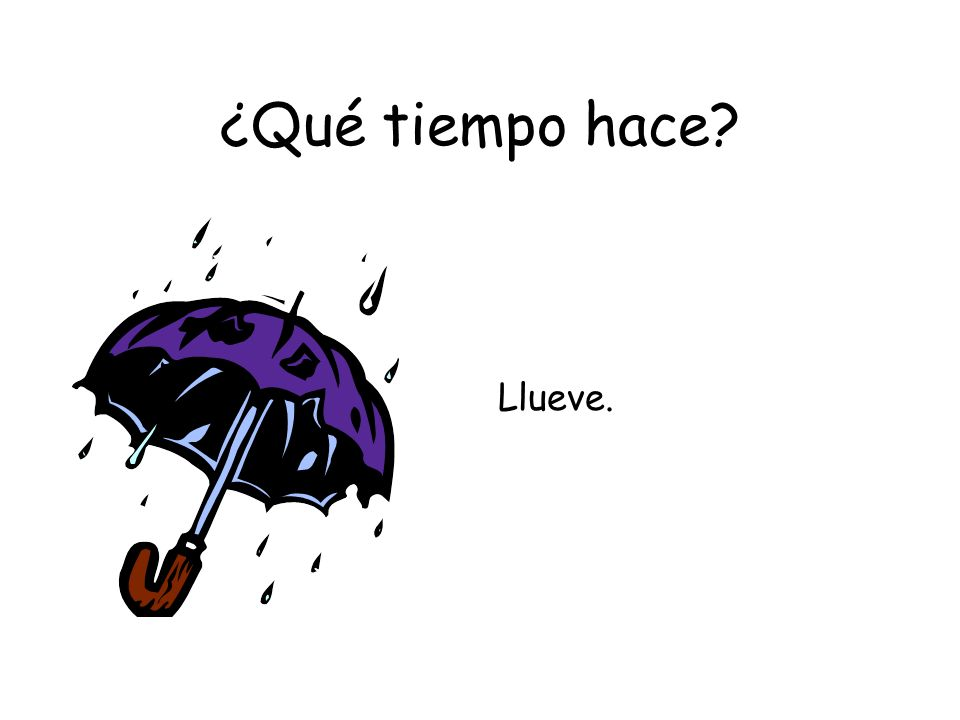 ¿Qué tiempo hace? Llueve.