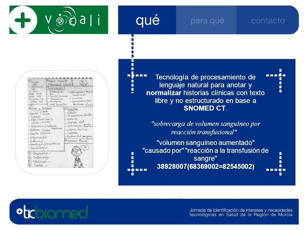 Tecnología de procesamiento de lenguaje natural para anotar y normalizar historias clínicas con texto libre y no estructurado en base a SNOMED CT.