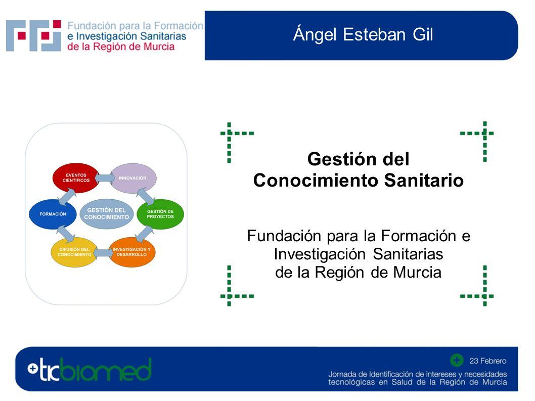 Ángel Esteban Gil Gestión del Conocimiento Sanitario Fundación para la Formación e Investigación Sanitarias de la Región de Murcia