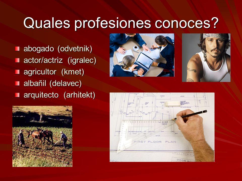 Quales profesiones conoces? abogado (odvetnik) actor/actriz (igralec) agricultor (kmet) albañil (delavec) arquitecto (arhitekt)