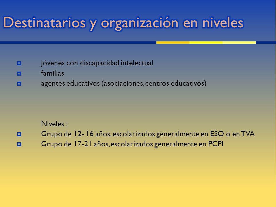 jóvenes con discapacidad intelectual familias agentes educativos (asociaciones, centros educativos) Niveles : Grupo de 12- 16 años, escolarizados gene