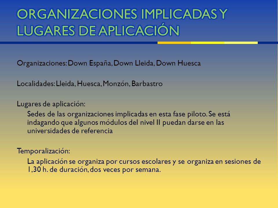 Organizaciones: Down España, Down Lleida, Down Huesca Localidades: Lleida, Huesca, Monzón, Barbastro Lugares de aplicación: Sedes de las organizacione