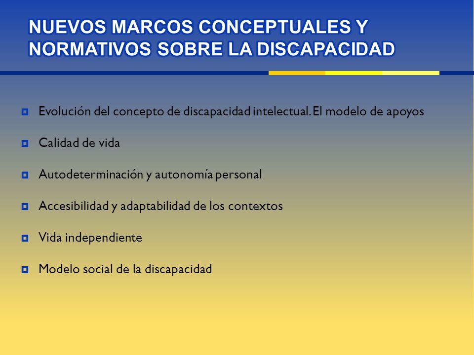 Evolución del concepto de discapacidad intelectual. El modelo de apoyos Calidad de vida Autodeterminación y autonomía personal Accesibilidad y adaptab