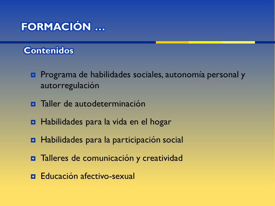 Programa de habilidades sociales, autonomía personal y autorregulación Taller de autodeterminación Habilidades para la vida en el hogar Habilidades pa