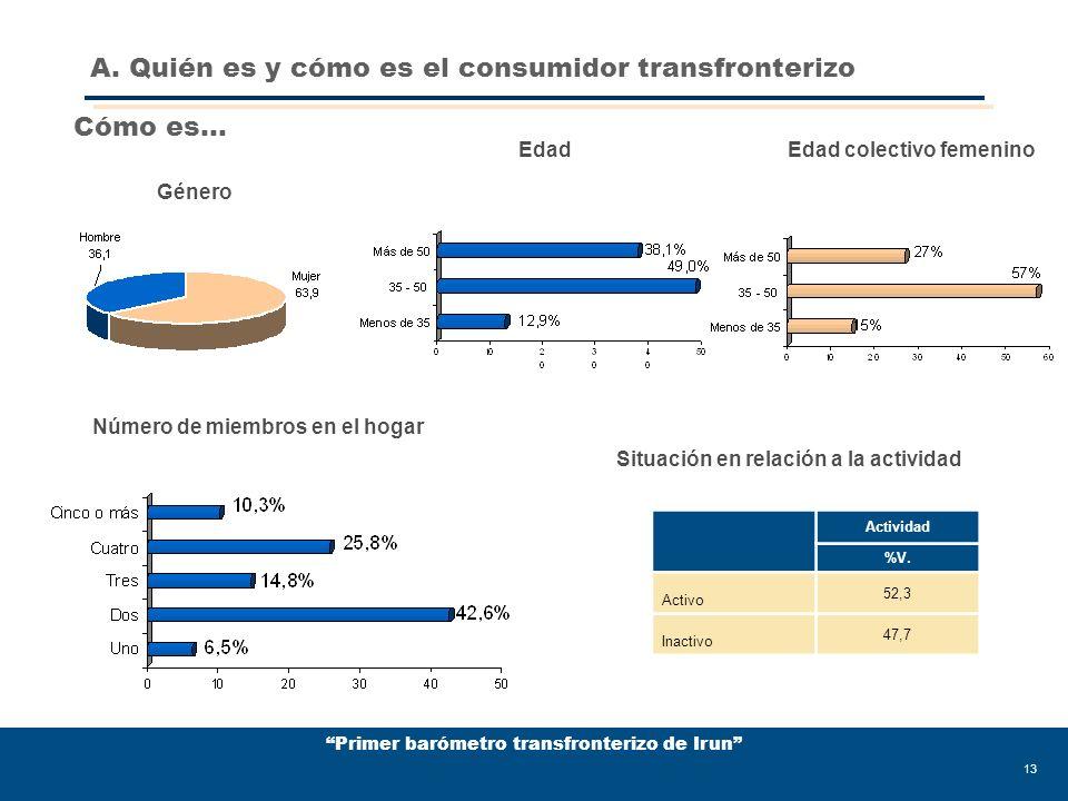 Primer barómetro transfronterizo de Irun 13 Género Edad Número de miembros en el hogar Situación en relación a la actividad Actividad %V.