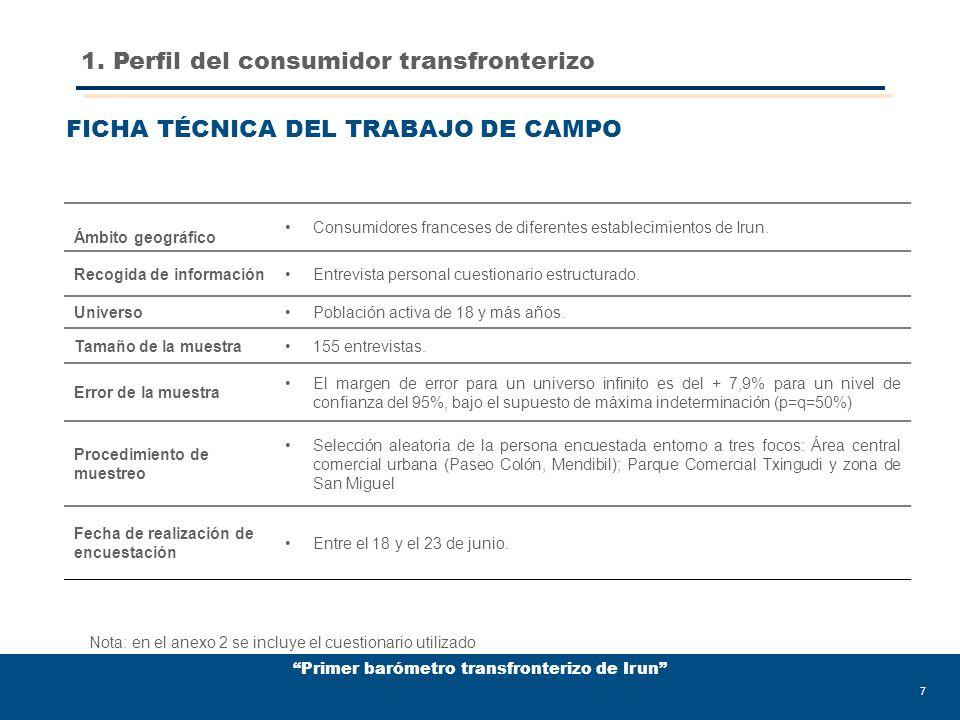 Primer barómetro transfronterizo de Irun 28 De hecho el propio perfil transfronterizo se define comercialmente altamente motivado por el factor precio; para un 80% este parámetro constituye el principal motor de compra en Irun.