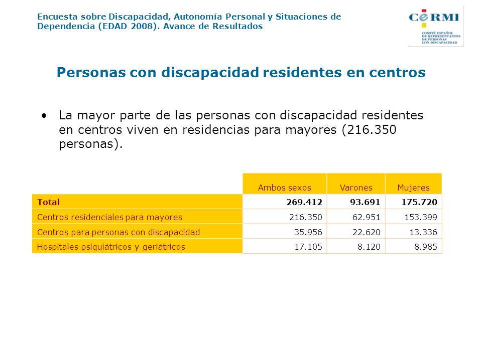 Encuesta sobre Discapacidad, Autonomía Personal y Situaciones de Dependencia (EDAD 2008). Avance de Resultados Personas con discapacidad residentes en