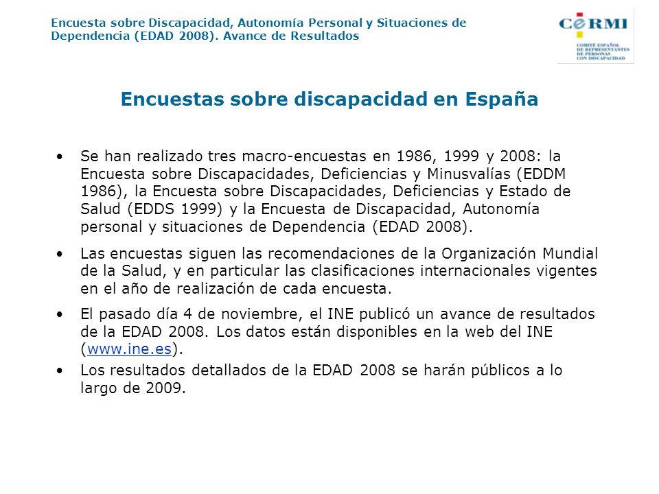 Encuesta sobre Discapacidad, Autonomía Personal y Situaciones de Dependencia (EDAD 2008). Avance de Resultados Encuestas sobre discapacidad en España