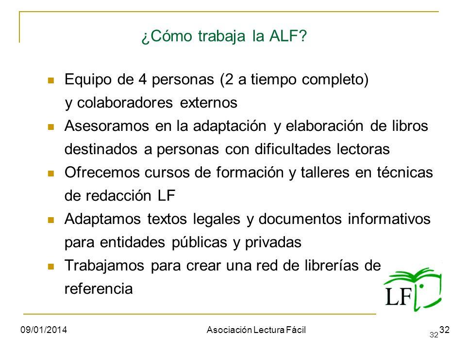 32 ¿Cómo trabaja la ALF? Equipo de 4 personas (2 a tiempo completo) y colaboradores externos Asesoramos en la adaptación y elaboración de libros desti