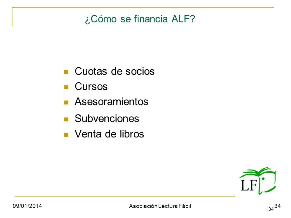34 ¿Cómo se financia ALF? Cuotas de socios Cursos Asesoramientos Subvenciones Venta de libros 09/01/2014Asociación Lectura Fácil34