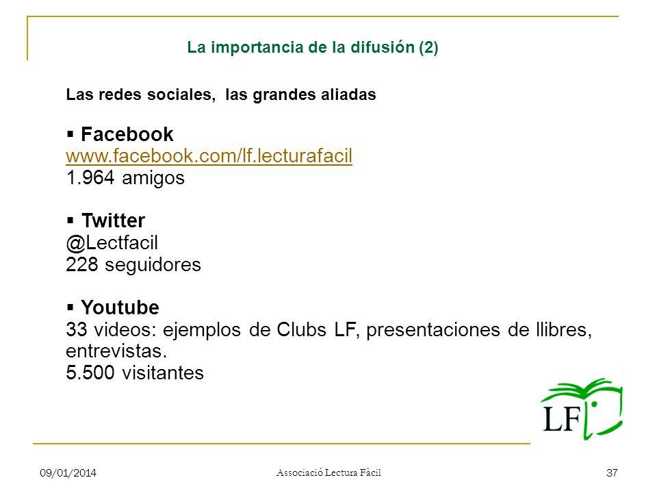 09/01/2014 Associació Lectura Fàcil 37 Las redes sociales, las grandes aliadas Facebook www.facebook.com/lf.lecturafacil 1.964 amigos Twitter @Lectfac