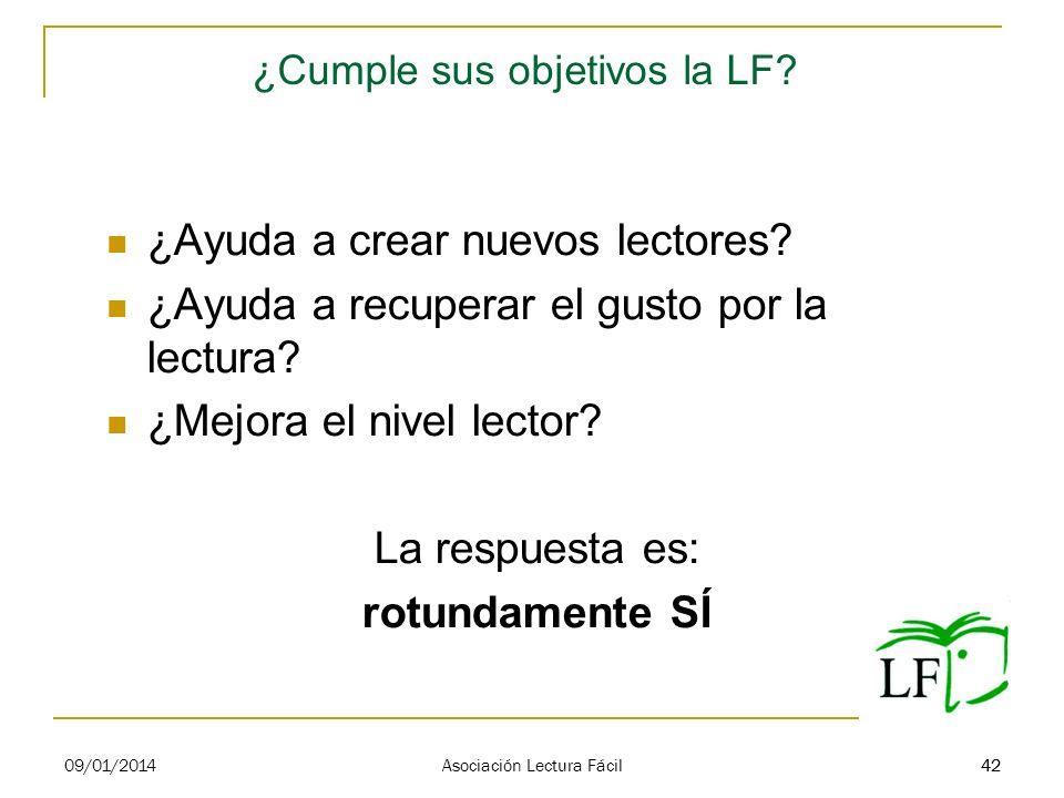 42 ¿Cumple sus objetivos la LF? ¿Ayuda a crear nuevos lectores? ¿Ayuda a recuperar el gusto por la lectura? ¿Mejora el nivel lector? La respuesta es: