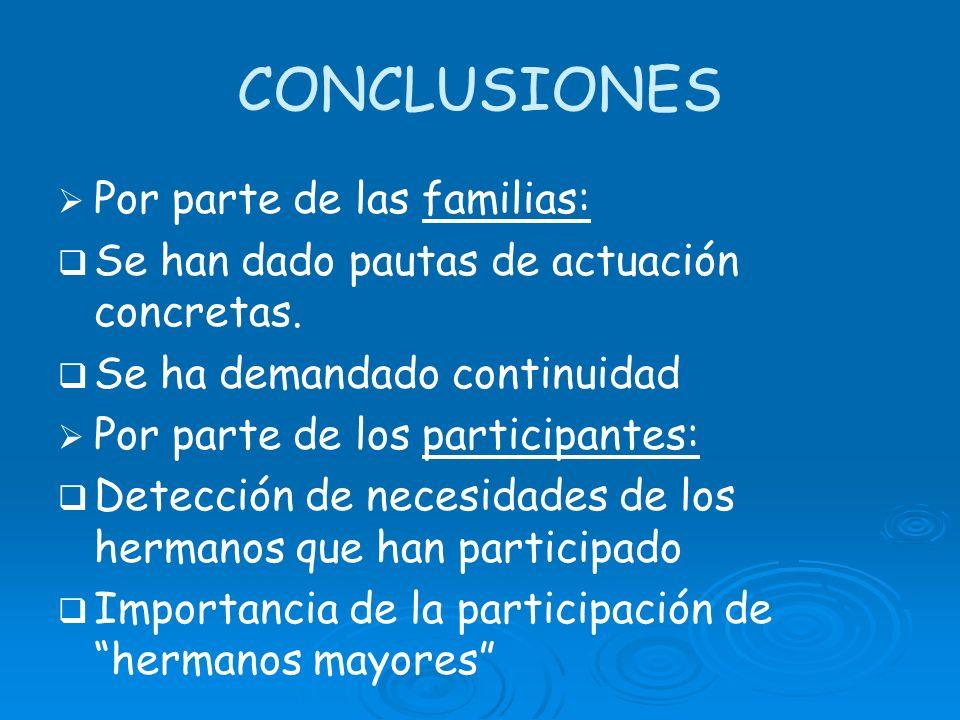 CONCLUSIONES Por parte de las familias: Se han dado pautas de actuación concretas. Se ha demandado continuidad Por parte de los participantes: Detecci