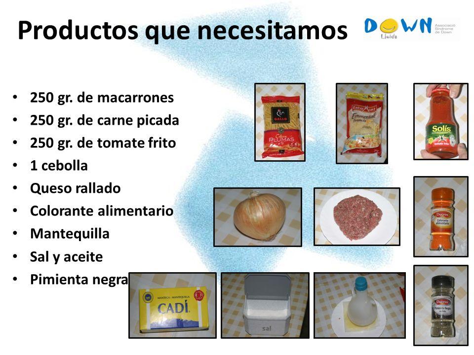 7 Productos que necesitamos 250 gr. de macarrones 250 gr. de carne picada 250 gr. de tomate frito 1 cebolla Queso rallado Colorante alimentario Manteq