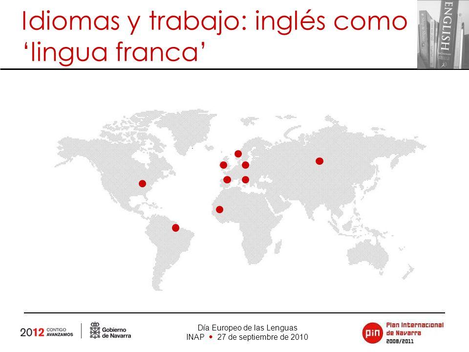 Día Europeo de las Lenguas INAP 27 de septiembre de 2010 Idiomas y trabajo: inglés como lingua franca