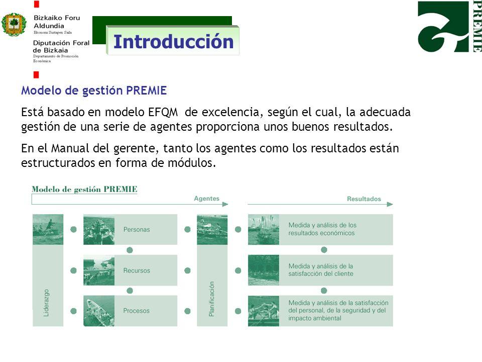 Introducción Modelo de gestión PREMIE Está basado en modelo EFQM de excelencia, según el cual, la adecuada gestión de una serie de agentes proporciona