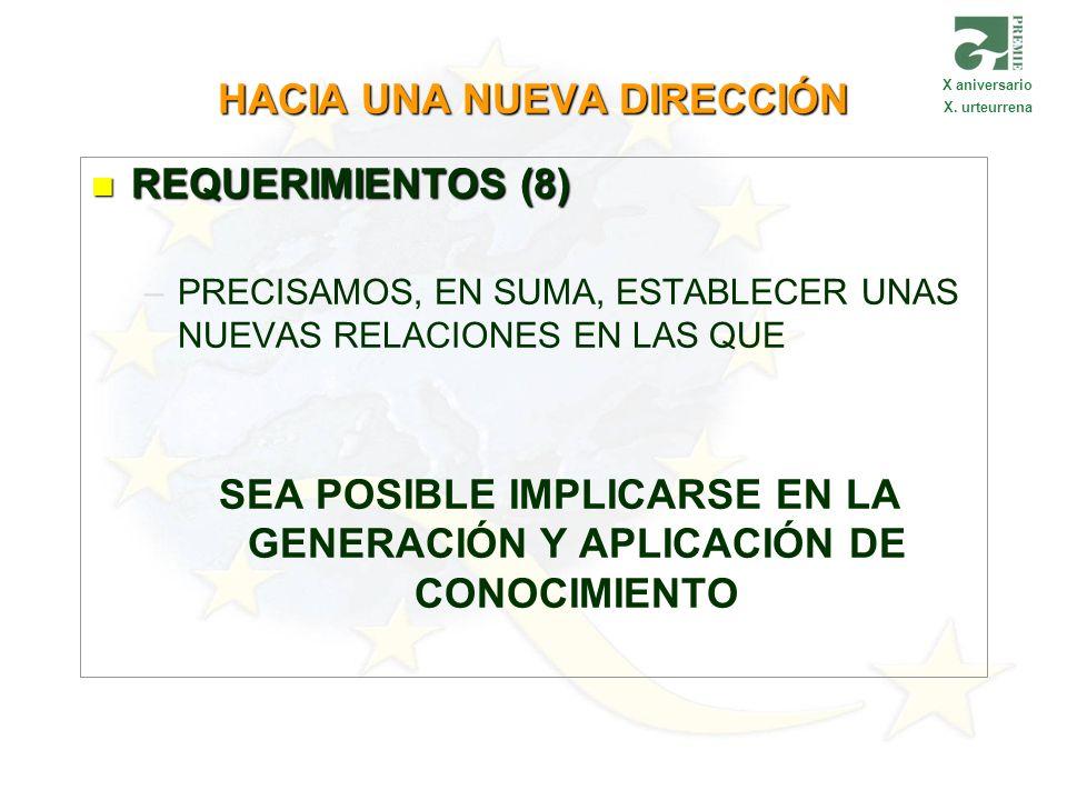 HACIA UNA NUEVA DIRECCIÓN REQUERIMIENTOS (8) REQUERIMIENTOS (8) – –PRECISAMOS, EN SUMA, ESTABLECER UNAS NUEVAS RELACIONES EN LAS QUE SEA POSIBLE IMPLI