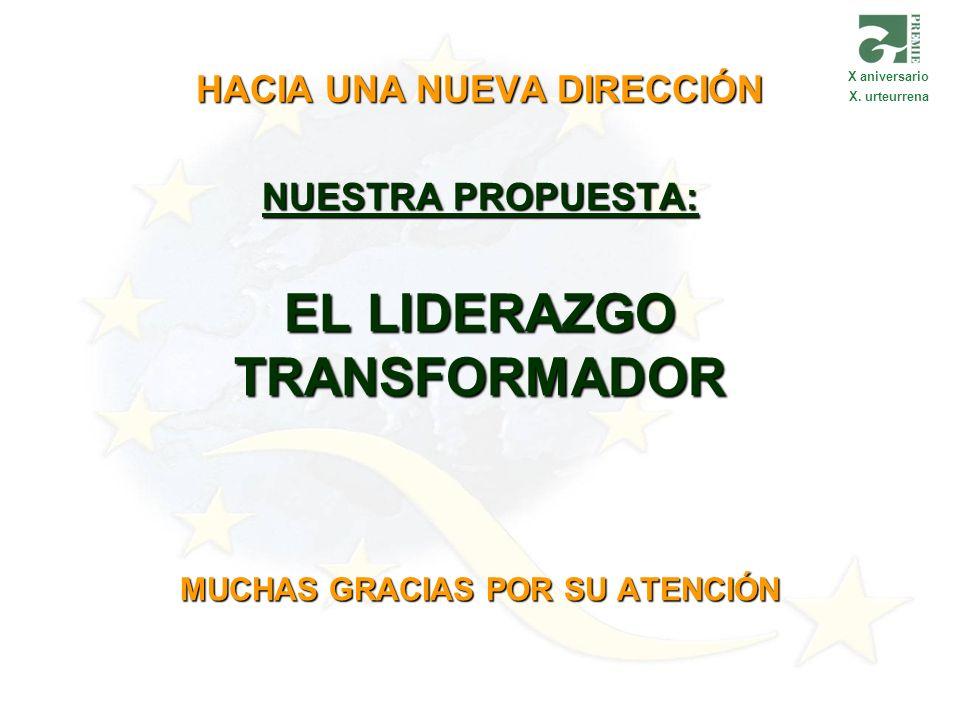 HACIA UNA NUEVA DIRECCIÓN NUESTRA PROPUESTA: EL LIDERAZGO TRANSFORMADOR MUCHAS GRACIAS POR SU ATENCIÓN X aniversario X. urteurrena