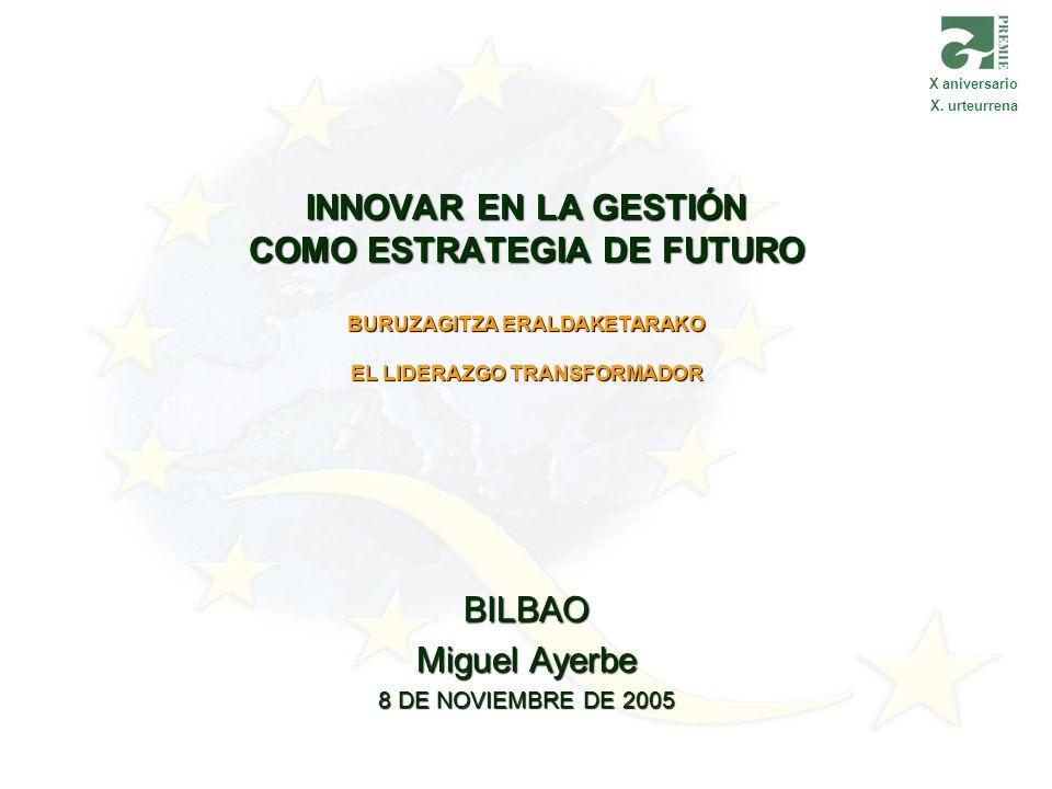 INNOVAR EN LA GESTIÓN COMO ESTRATEGIA DE FUTURO BURUZAGITZA ERALDAKETARAKO EL LIDERAZGO TRANSFORMADOR BILBAO Miguel Ayerbe 8 DE NOVIEMBRE DE 2005 X an