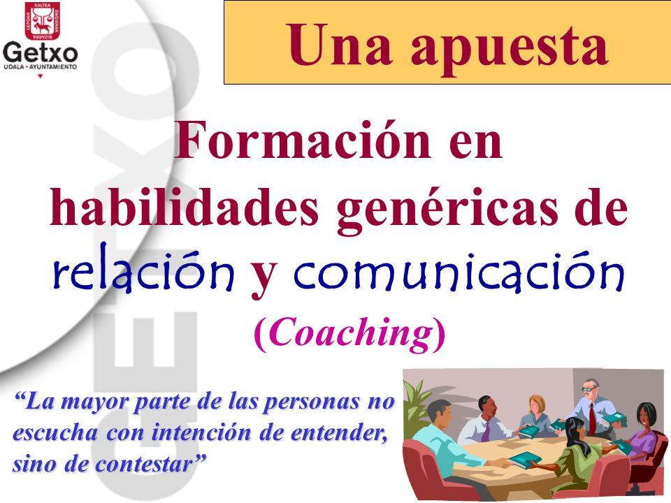 Formación en habilidades genéricas de relación y comunicación (Coaching) Una apuesta La mayor parte de las personas no escucha con intención de entend