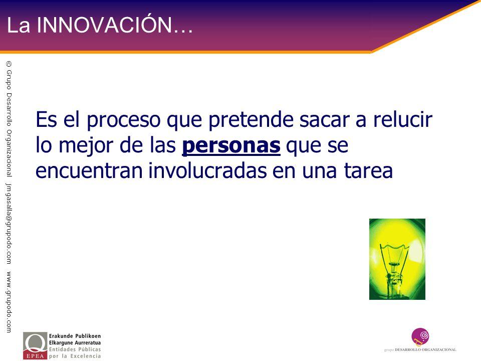 La INNOVACIÓN… Es el proceso que pretende sacar a relucir lo mejor de las personas que se encuentran involucradas en una tarea © Grupo Desarrollo Orga