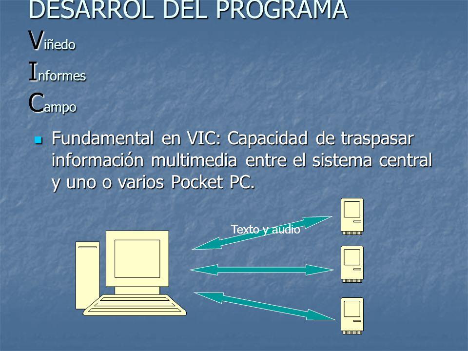 Fundamental en VIC: Capacidad de traspasar información multimedia entre el sistema central y uno o varios Pocket PC. Fundamental en VIC: Capacidad de