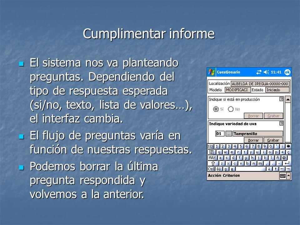 Cumplimentar informe El sistema nos va planteando preguntas. Dependiendo del tipo de respuesta esperada (si/no, texto, lista de valores…), el interfaz