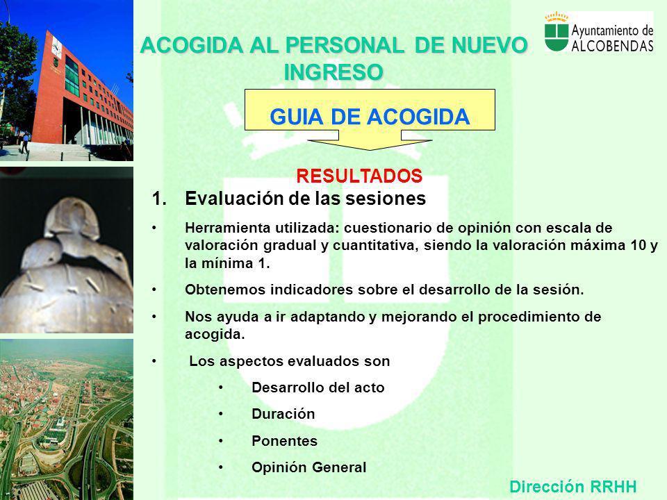 ACOGIDA AL PERSONAL DE NUEVO INGRESO GUIA DE ACOGIDA RESULTADOS 1. Evaluación de las sesiones 2. Acciones de mejora propuestas 3. Desarrollo profesion