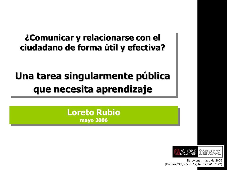 1 Comunicación pública > Loreto Rubio mayo 2006 Loreto Rubio mayo 2006 Barcelona, mayo de 2006 (Balmes 243, s/àtc.