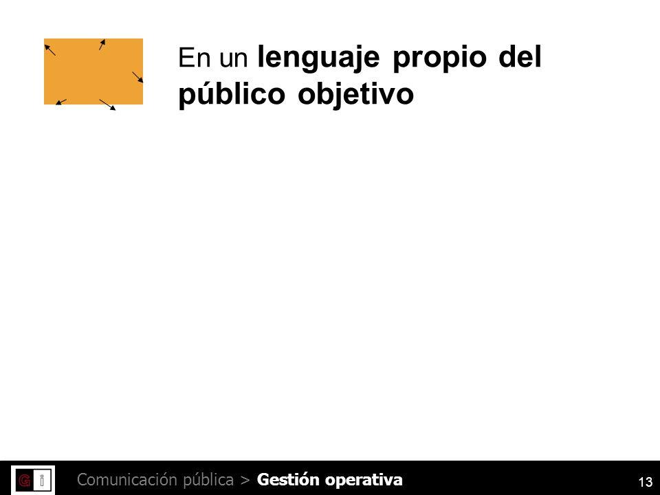 13 Comunicación pública > En un lenguaje propio del público objetivo Gestión operativa