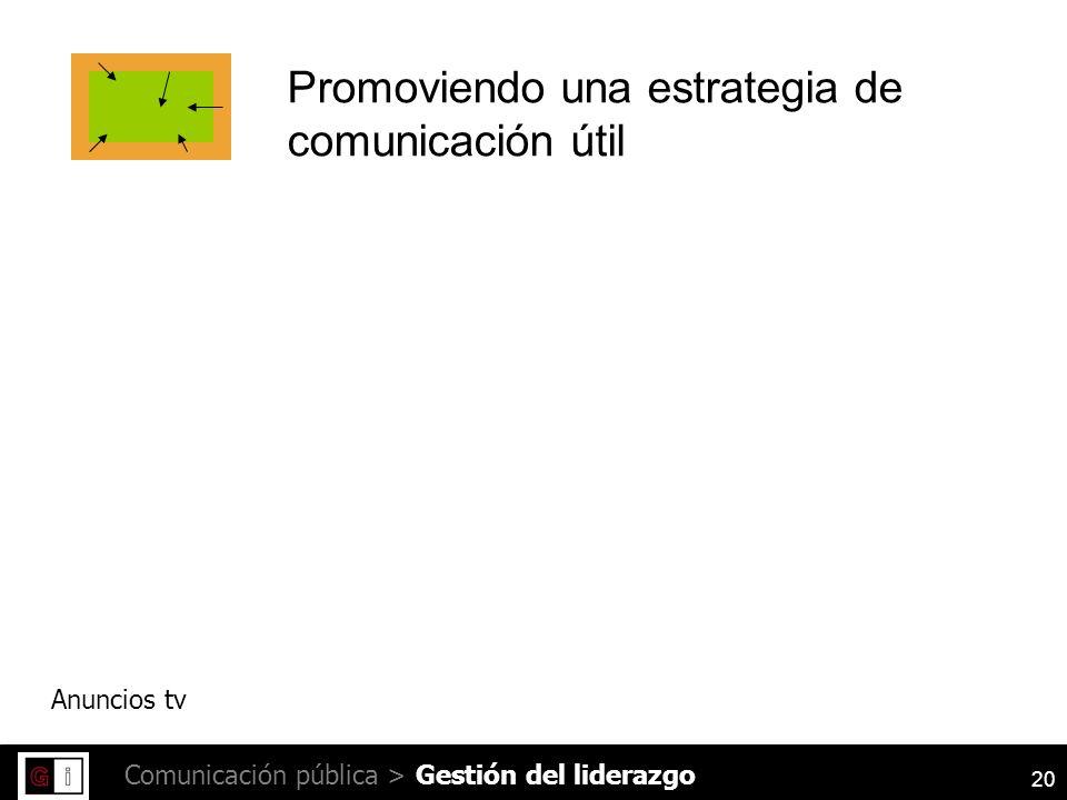 20 Comunicación pública > Promoviendo una estrategia de comunicación útil Anuncios tv Gestión del liderazgo