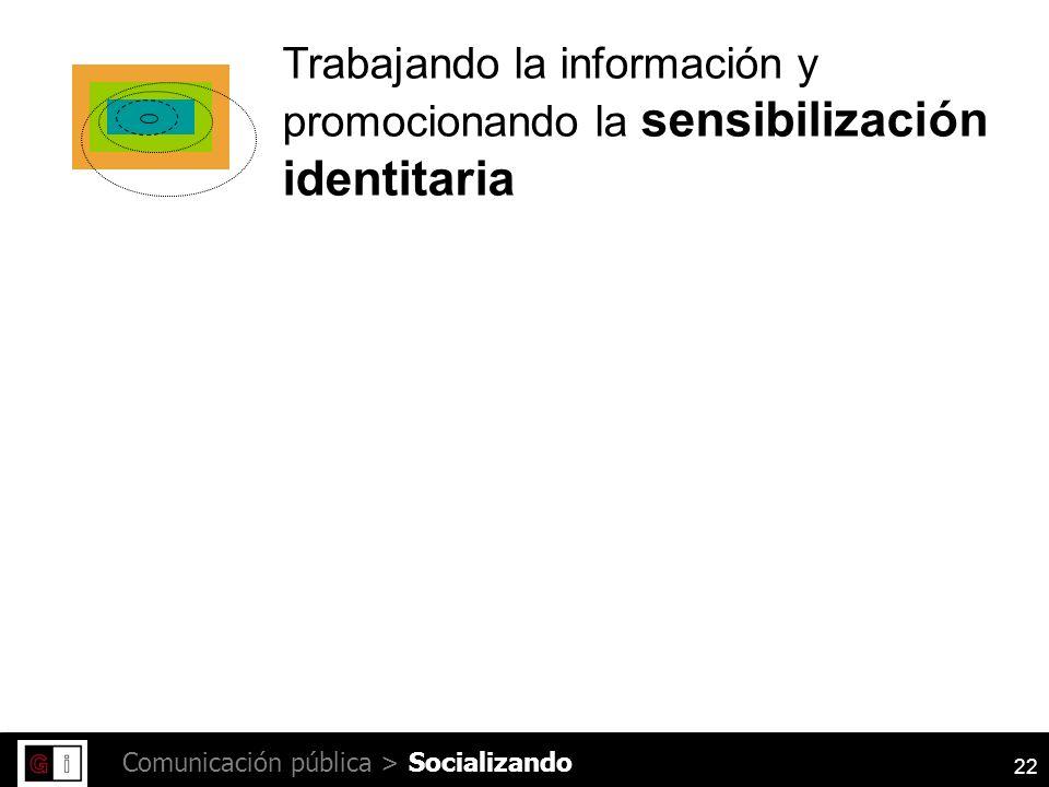 22 Comunicación pública > Trabajando la información y promocionando la sensibilización identitaria Socializando