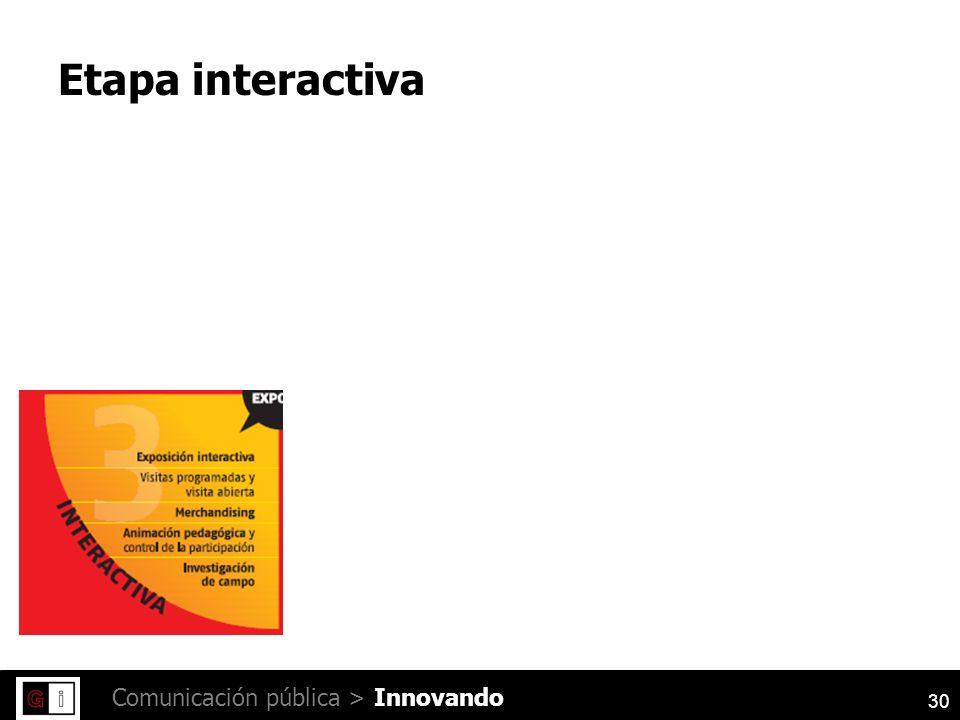 30 Comunicación pública > Etapa interactiva Innovando