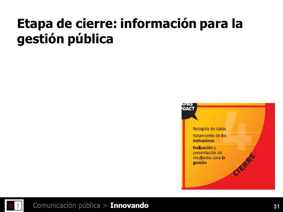31 Comunicación pública > Etapa de cierre: información para la gestión pública Innovando