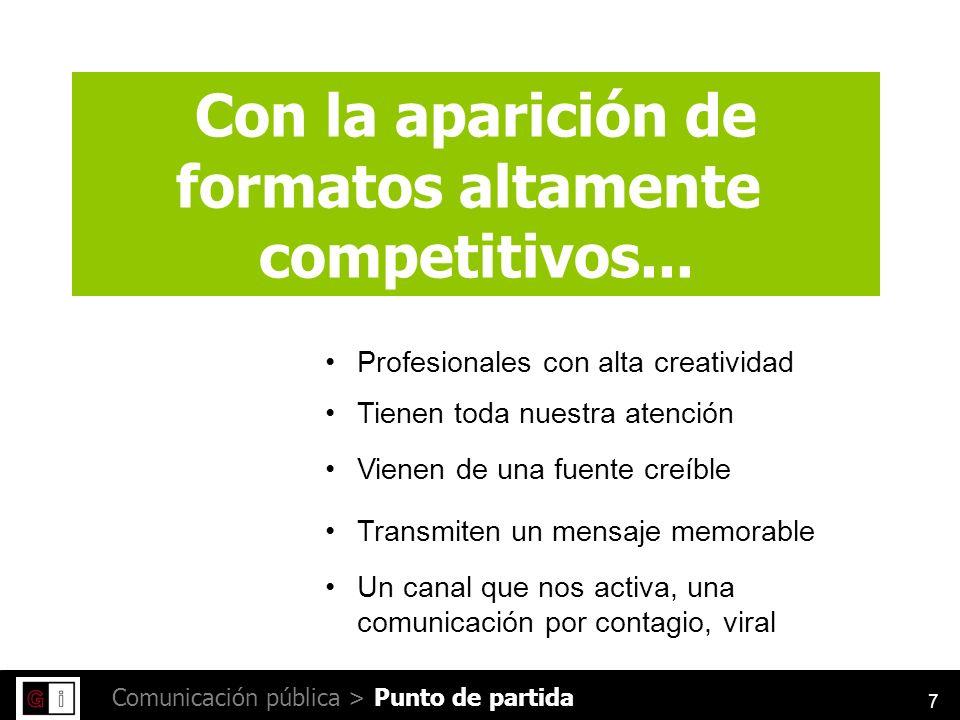 7 Comunicación pública > Con la aparición de formatos altamente competitivos...
